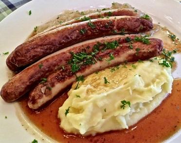 sausages, sauerkraut and potatoes