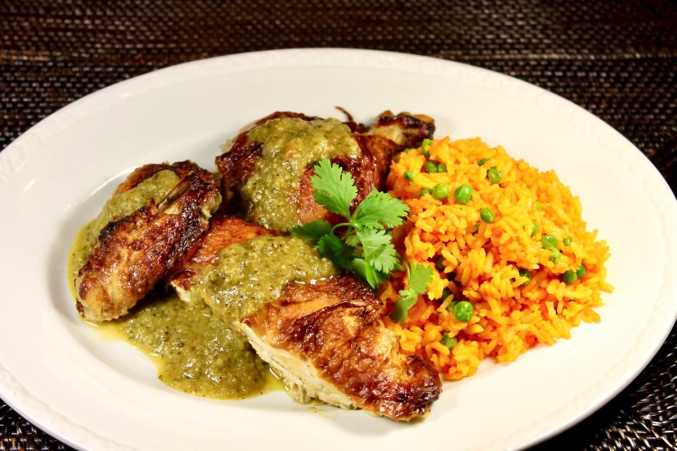 Roasted Chicken Topped With Mexican Green Mole