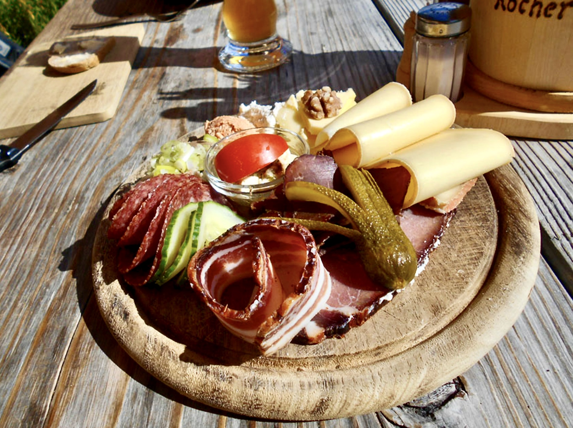 Austrian lunch of alpine cheese and smoked meats
