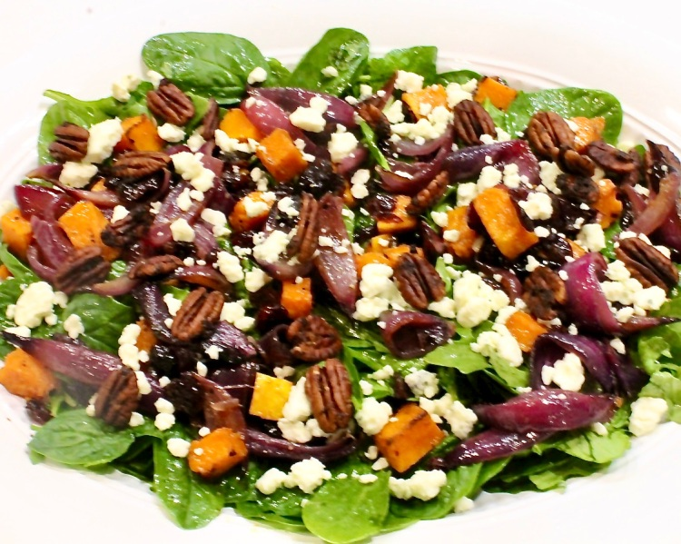 harvest salad with roasted butternut squash and red onion