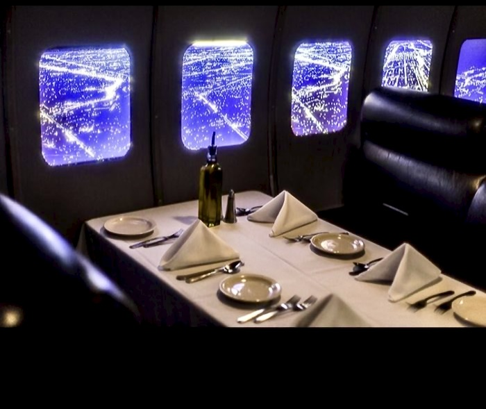 lounge with airplane style windows