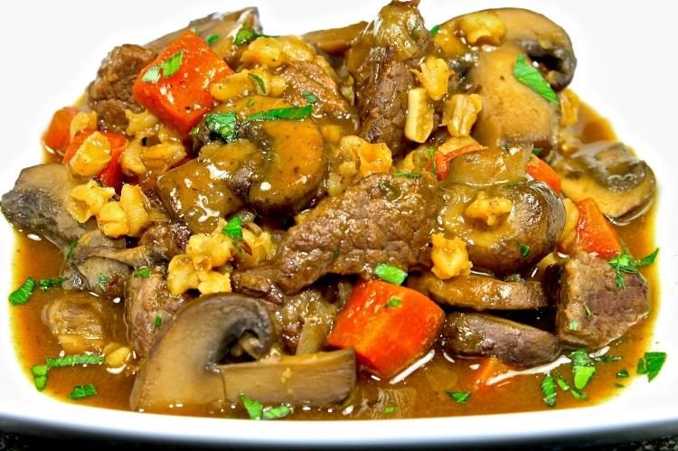 beef, barley and mushroom stew