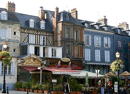half-timbered houses, cafes and boutiques