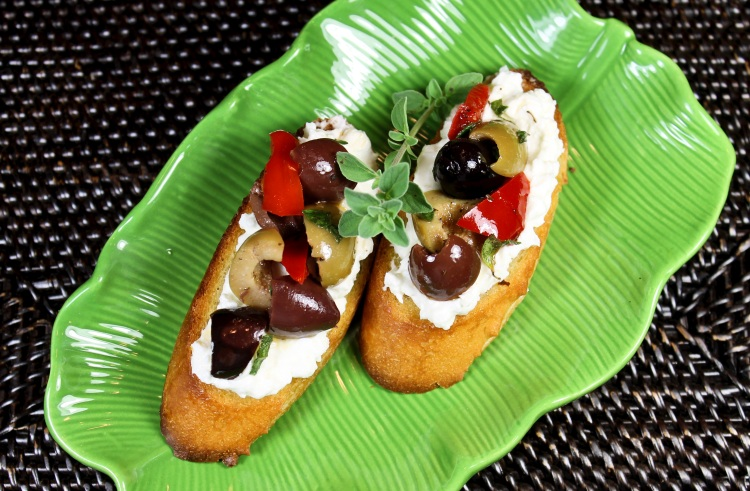 whipped feta and olive crostini
