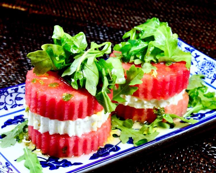 spicy stacked watermelon feta and arugula salad