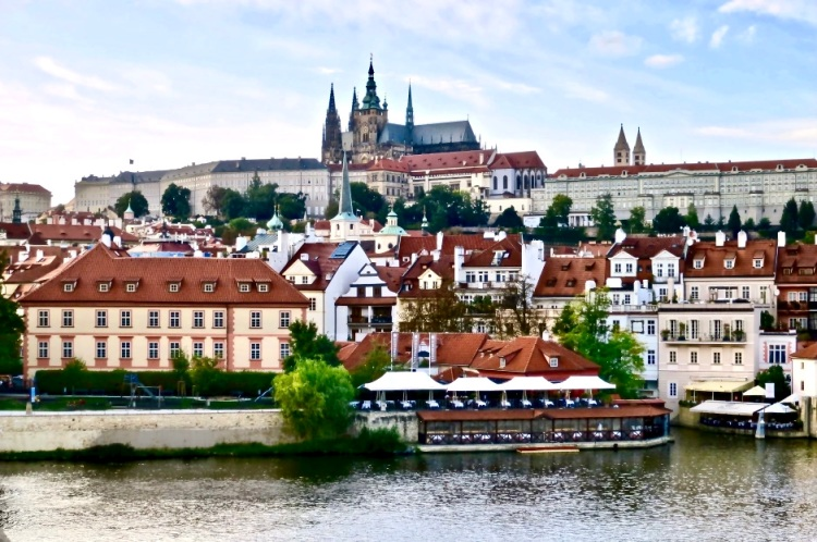 the Prague Castle dominates the skyline