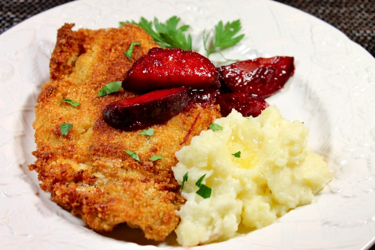 pork schnitzel with sweet and savory plums